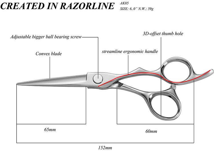AK05 hair scissor size